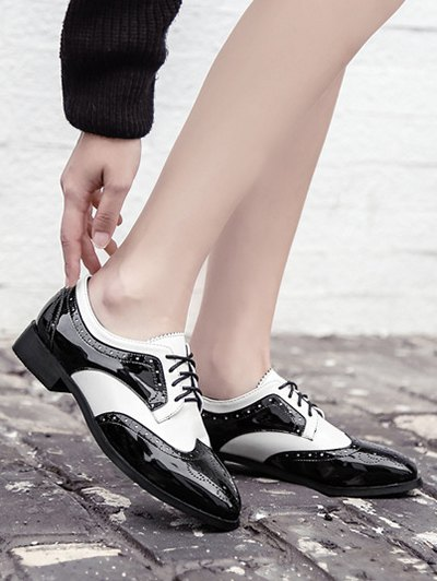 Lace Up Two Tone Wingtip Flat Shoes - WHITE AND BLACK 39 Mobile