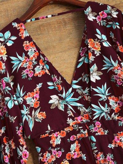 Wide Sleeve Floral Print Crossover Dress - BURGUNDY L Mobile