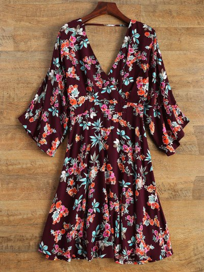 Wide Sleeve Floral Print Crossover Dress - Burgundy