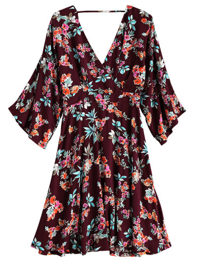 Wide Sleeve Floral Print Crossover Dress - BURGUNDY M Mobile