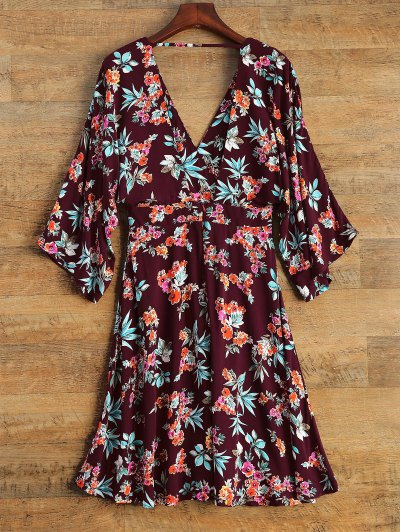 Wide Sleeve Floral Print Crossover Dress - BURGUNDY S Mobile