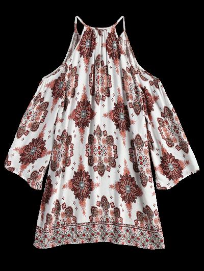 Long Sleeved Cold Shoulder Dress - WHITE M Mobile