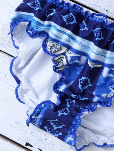Halter Frilled Porcelain Print Bikini - BLUE AND WHITE M Mobile