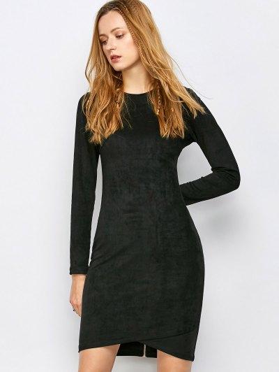 Back Zip Faux Suede Bodycon Dress - BLACK S Mobile