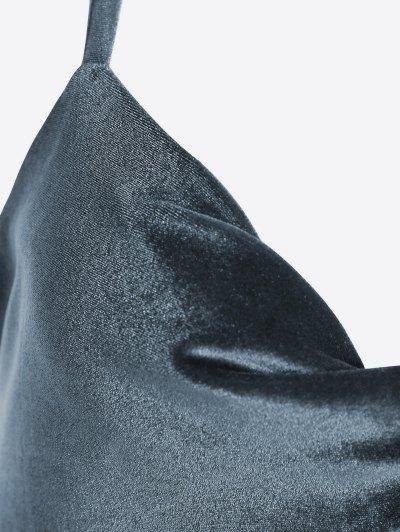 Cut Out Velvet Swimwear - BLACKISH GREEN S Mobile