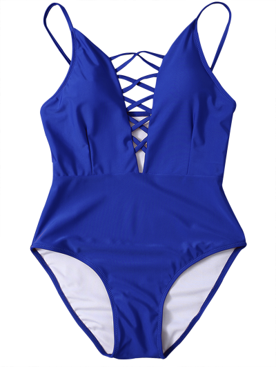 Strappy Lace-Up One-Piece Swimwear - BLUE XL Mobile