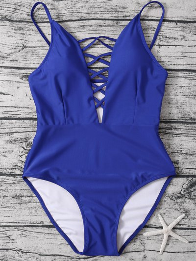 Strappy Lace-Up One-Piece Swimwear - BLUE L Mobile