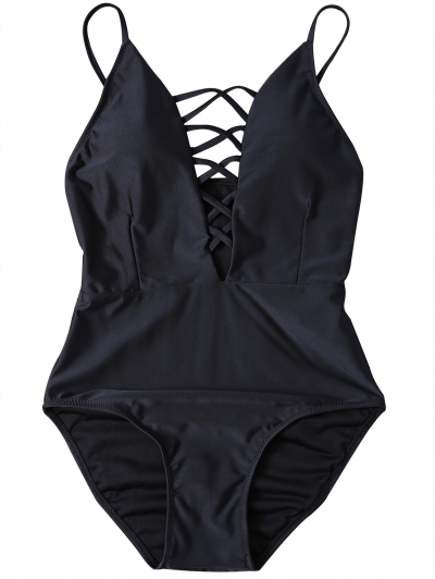 Strappy Lace-Up One-Piece Swimwear - BLACK S Mobile