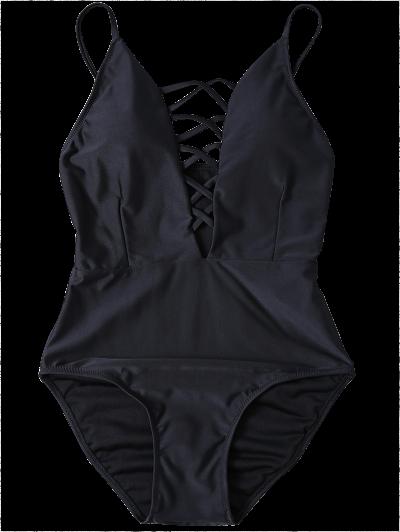 Strappy Lace-Up One-Piece Swimwear - BLACK XL Mobile