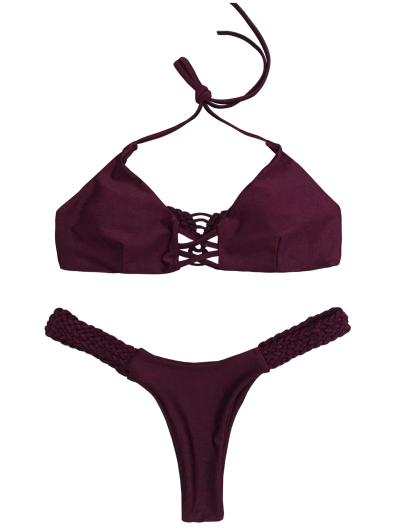 Cami Braided High Leg Bikini Set - PURPLE M Mobile