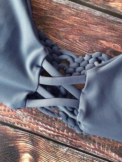 Cami Braided High Leg Bikini Set - GRAY M Mobile