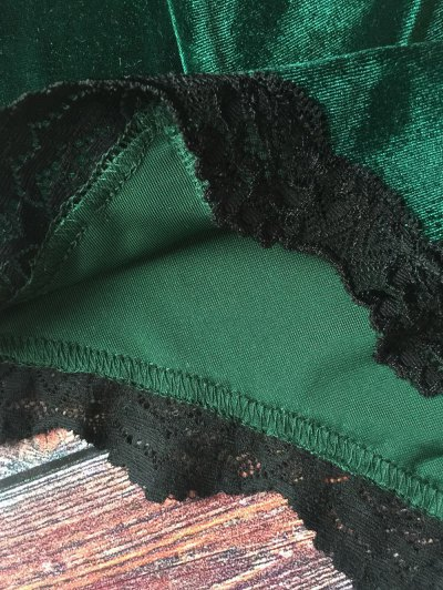 Lace Hem High Waisted Velvet Bra Set - BLACKISH GREEN L Mobile