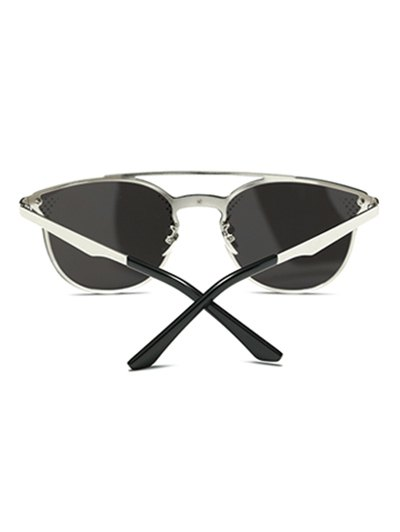 Rhombus Pattern Mirrored Butterfly Sunglasses - SILVER  Mobile