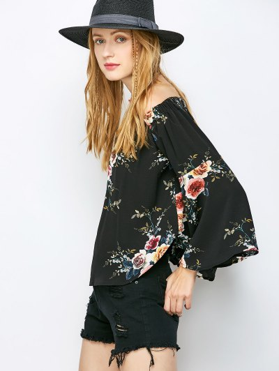Floral Print Off The Shoulder Top - BLACK M Mobile