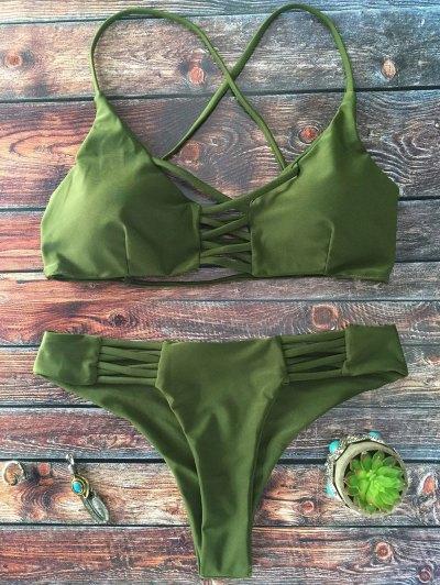 Lace-Up Cutout Strappy Bikini Set - Green