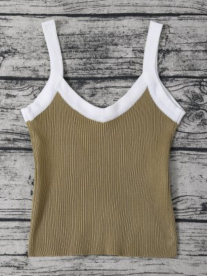 Color Block Knitted Ribbed Tank Top - Flax Green