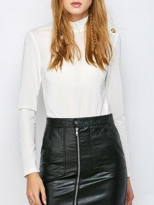 High Collar Velvet Bodysuit - Off-white