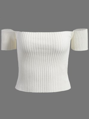 Off The Shoulder Rib Knit Crop Top - White