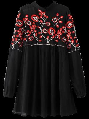 Stand Neck Floral Embroidered Dress - Black