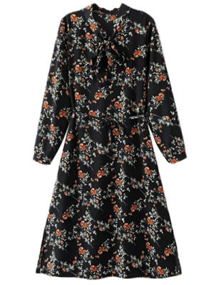 Printed Tie Neck Long Sleeve Dress - Black