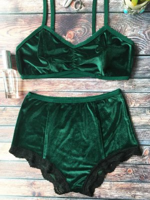 Lace Hem High Waisted Velvet Bra Set