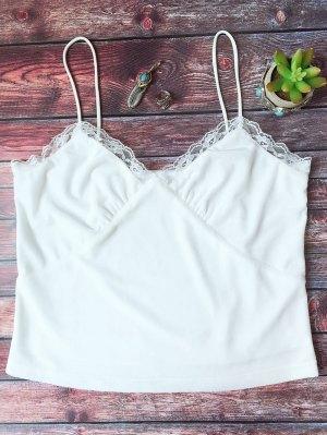 Lace Trim Velvet Camisole Top - White