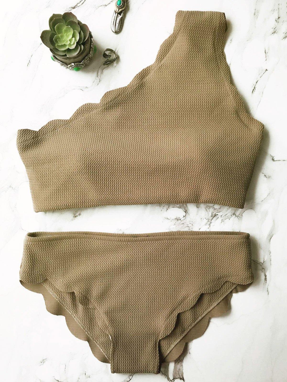 One Shoulder Scalloped Bikini