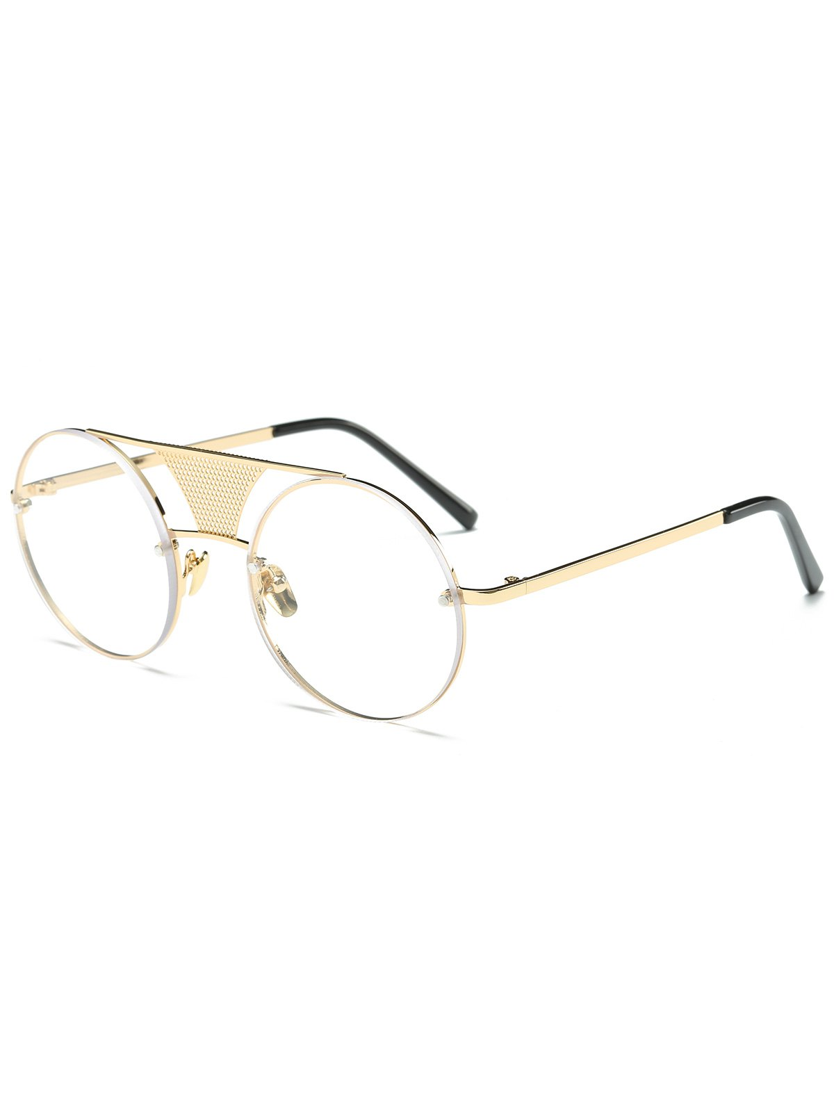 Openwork Mesh Transparent Lens Round SunglassesAccessories<br><br><br>Color: GOLDEN