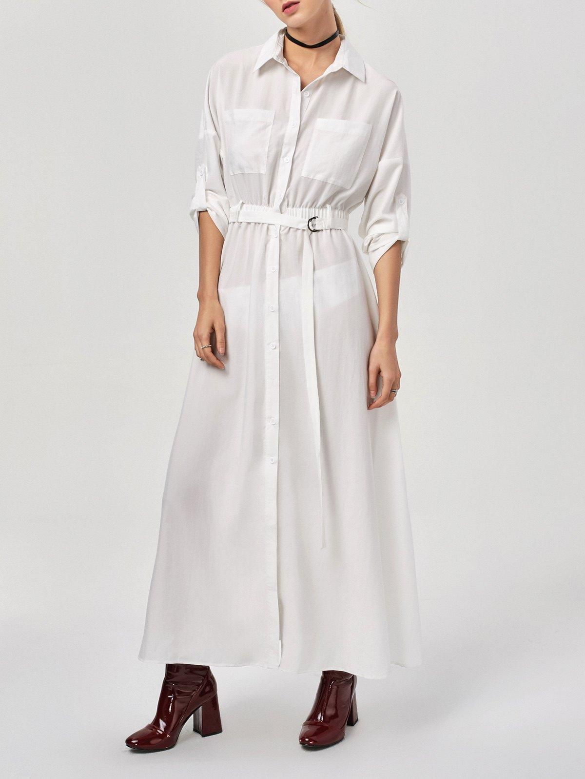 Maxi Button Up Belted Shirt Dress