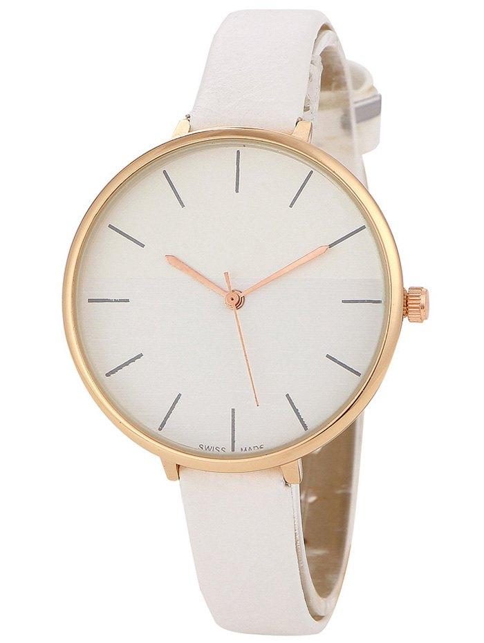 Faux Leather Band Color Block Quartz Watch
