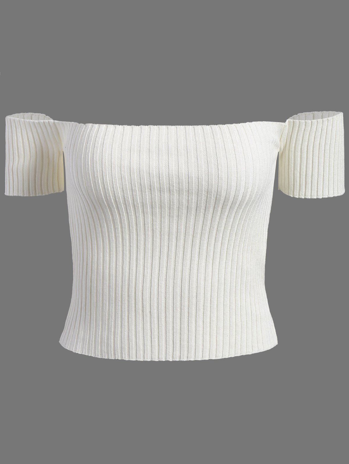Off The Shoulder Ribbed Crop Top 206023608
