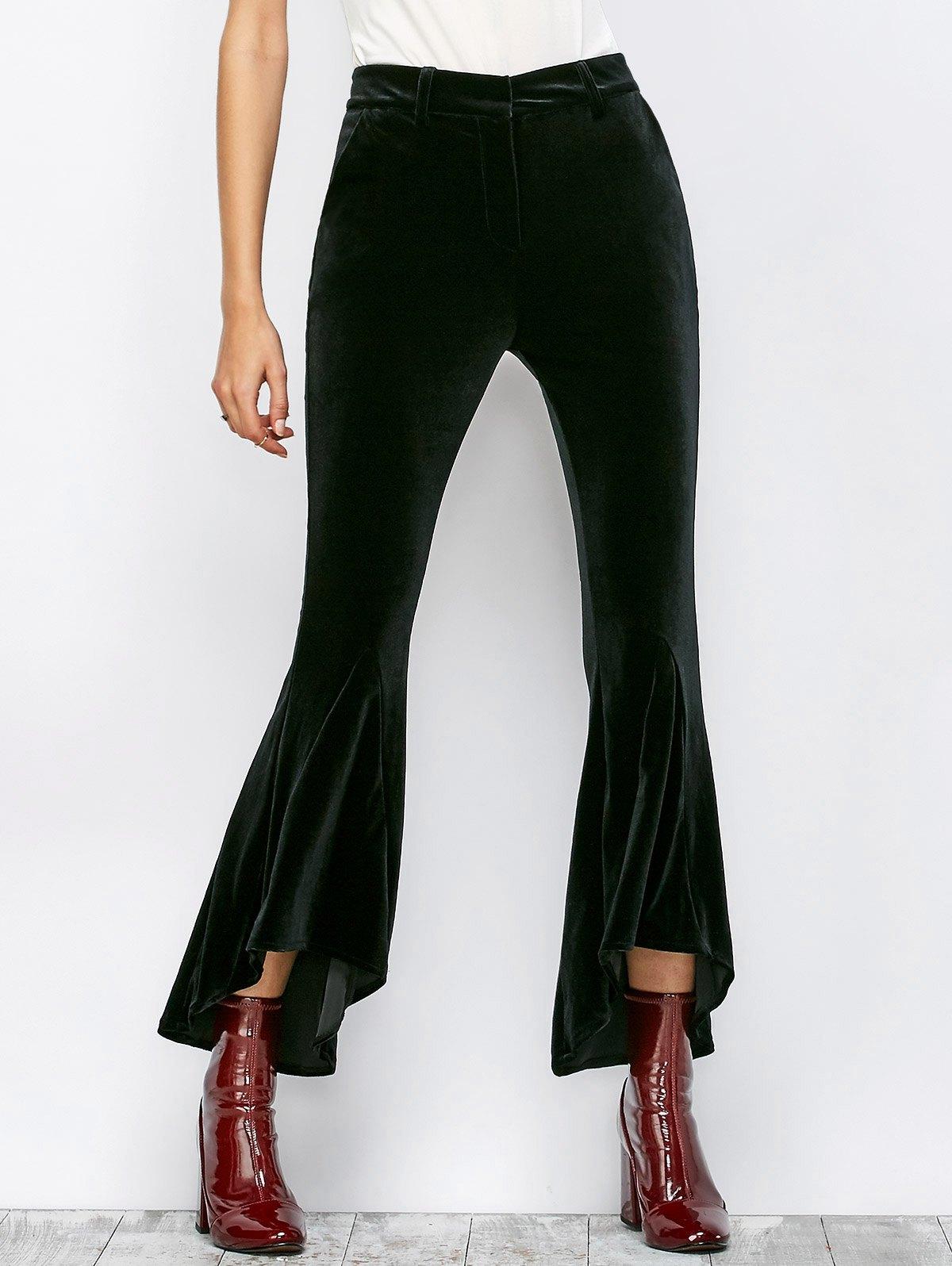 High Low Velvet Boot Cut Pants 203060601