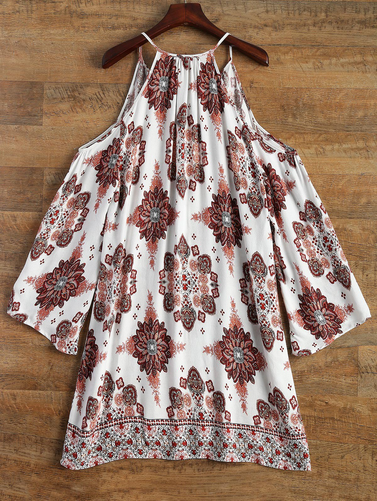Cold Shoulder Printed Swing Dress