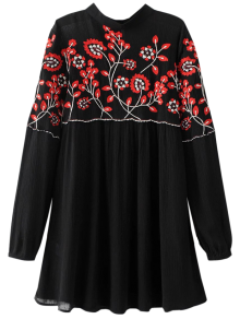 Stand Neck Floral Embroidered Dress