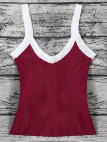 Color Block Knitted Ribbed Tank Top