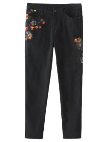 Slim Floral Embroidered Jeans - Black
