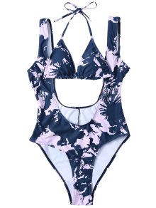 Low Cut Printed Swimsuit And Halter Bikini Top - Blue And Pink