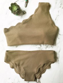 Buy Wireless Scalloped One Shoulder Bikini M ARMY GREEN