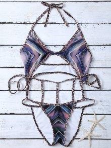 Chevron Pattern Caged Swimsuit - Multicolor M