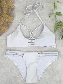 Cutout Crossover Bikini Set - White