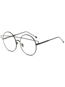 Transparent Lens Crossover Round Sunglasses - Black