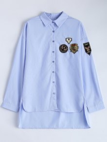 Uneven Hem Striped Miitary Patches Shirt