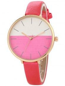 Bloque De Color Reloj De Cuarzo - Rojo
