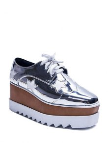 Buy Square Toe Stars Tie Wedge Shoes 37 SILVER