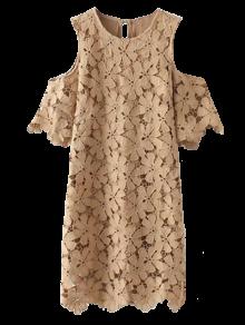 الدانتيل الباردة اللباس الكتف - كاكي M