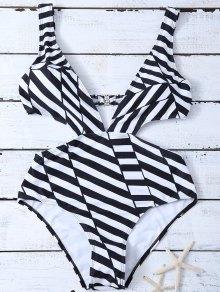 Stripe One Piece Cutout Bathing Suit