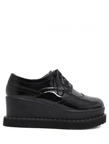 Tie Up Round Toe Wedge Wingtip Shoes - Black 38