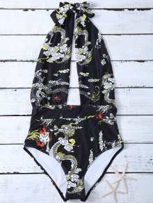 Orient Dragon Print Plunge Sexy One Piece Bathing Suit - Black