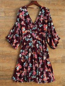 Wide Sleeve Floral Print Crossover Dress - Burgundy
