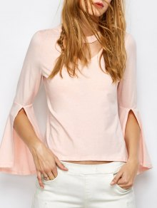 Flare Sleeved Choker T-Shirt